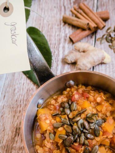 Græskargryde - Opskrift på vegansk gryderet med hokkaido græskar