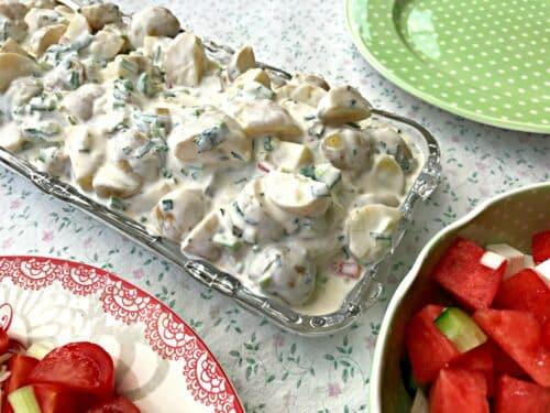 Kold kartoffelsalat - Opskrift på lækker og sund kartoffelsalat