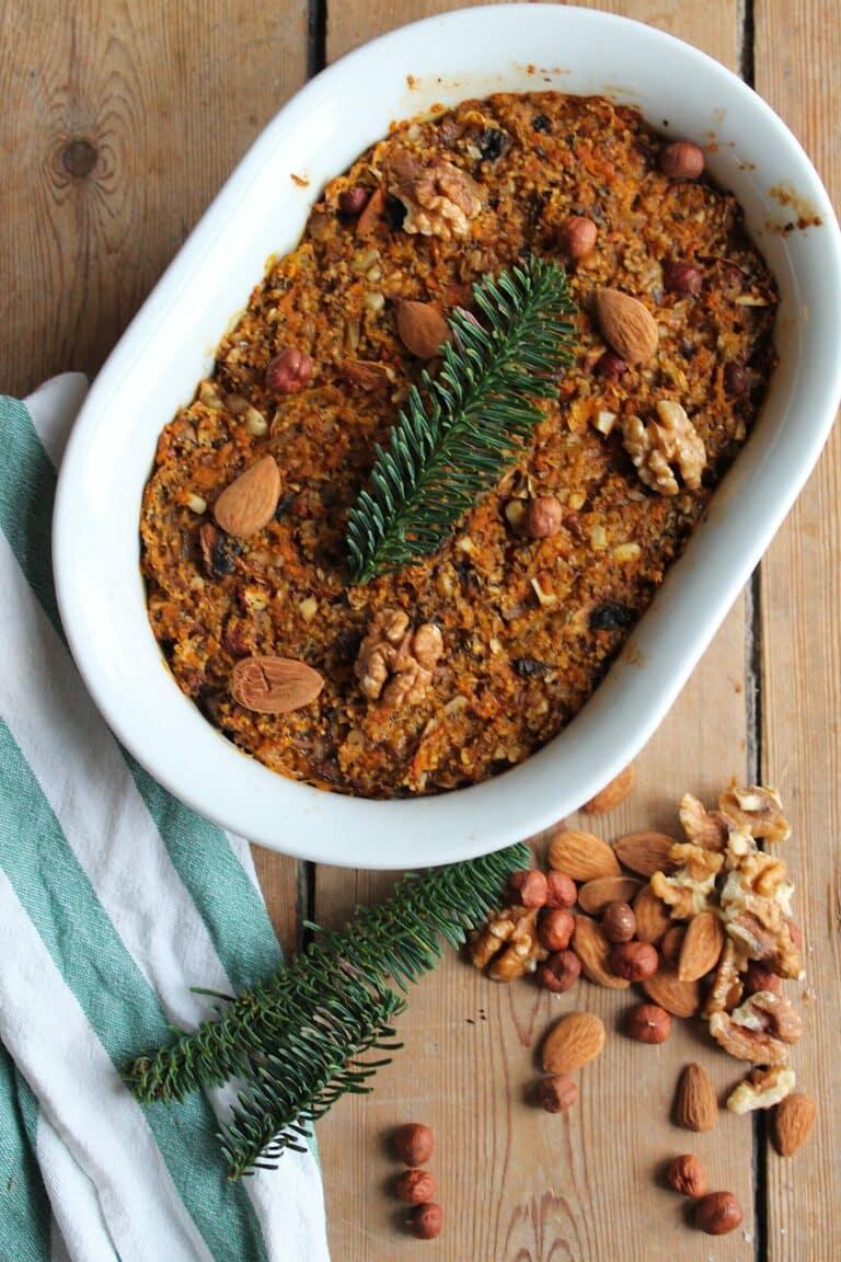Nøddepate - Opskrift på vegetarisk nøddepostej med svampe til julebordet